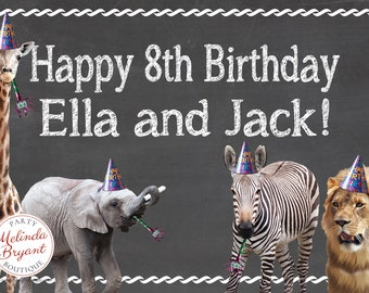 Zoo Safari Birthday Printed 2x3 Backdrop / Personalized Banner Wild Animal Party Signs First Birthday Decor Twins Triplets Chalkboard Poster