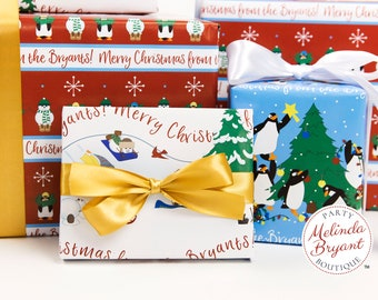 Personalized Christmas Gift Wrap Set with Custom Text / Rolled Wrapping Paper with Penguins and Snowmen / Kids Holiday Decorations