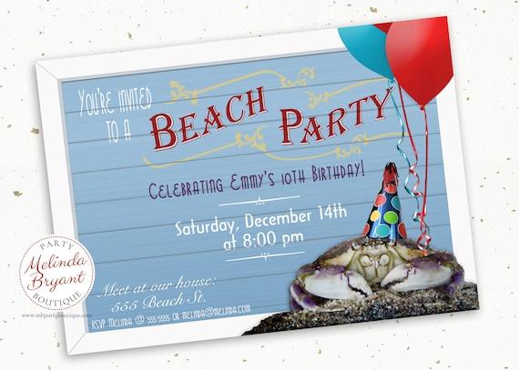 Beach Party Invitation Printable Aquarium Birthday Invites Crab Themed Kids Custom Invitations Boardwalk First Tween