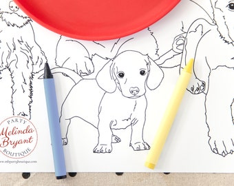Puppy Party Decorations Table Runner Coloring Page Birthday Decor Pound Puppy Pawty Dog Themed Kids Table Childrens Group Craft Activity