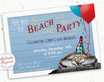Beach Party Invitation 5x7 Printed Aquarium Birthday Invite Crab Themed Kids Custom Invitations Boardwalk First Birthday Children Tween Teen