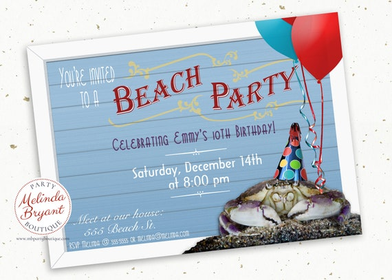 Beach Party Invitation Printed Aquarium Birthday Invites Crab Themed Kids Custom Invitations Boardwalk First Tween Teen