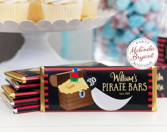 Personalized Pirate Candy Bar Wrappers with Red Black and Stripes for Childrens Birthday Party Favors and Dessert Table Decorations