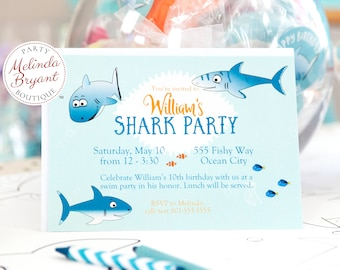 Shark Birthday Invitation Press Printed for Baby Shower or Ocean Themed Event Great for Aquarium or Backyard Pool Party Custom Text