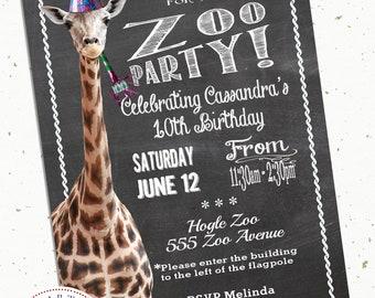 Zoo Safari Birthday Party Printable Invitation Wild Animal Themed First Birthday Elephant Giraffe Custom Invite Personalized 2nd Birthday