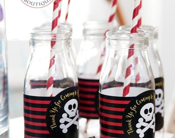 Personalized Pirate Themed 2.5 inch Stickers and Decor Kits for Birthday / Printed Custom Labels for Summer Pool Party Event