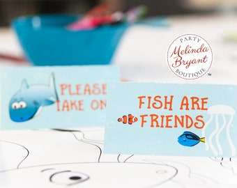 Custom Shark Themed Table Tents /Under the Sea Birthday Party Place Cards for Baby Shower Decor or Summer Pool Party Summer Event