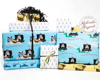 Personalized Pirates and Treasure Gift Wrap Set with Custom Text and Childs Name / aquarium birthday party pirate ship themed wrapping paper