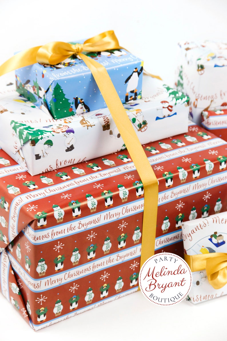Personalized Christmas Gift Wrap with Penguins and Snowmen on Red Background  Childrens Holiday Decorations Family Gifts or Babys First