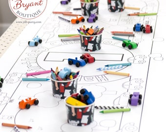 Cars and Trucks Birthday Decor Coloring Page Table Runner / First Birthday Decorations / Kids Table Activities / Children's Party Games
