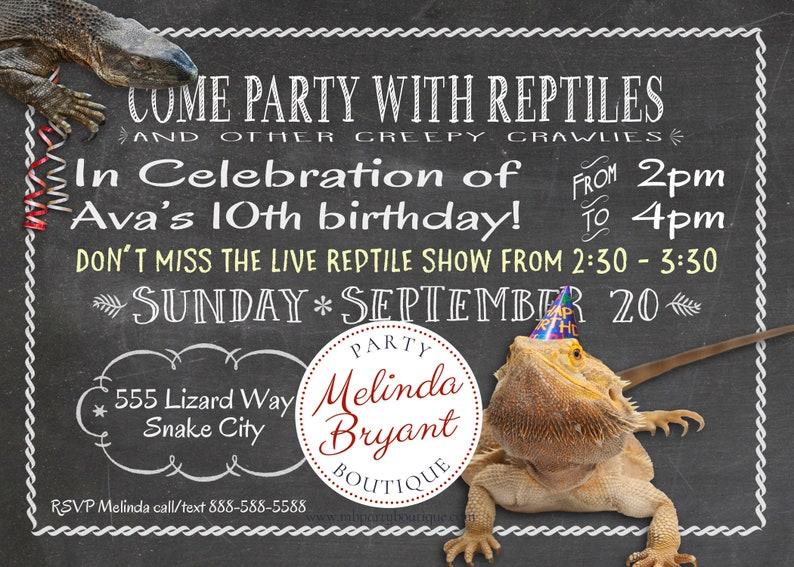 Reptile Birthday Invitation 5x7 Snake Party Printable Invite Monitor Liz/Beardy