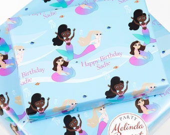 Personalized Mermaid Gift Wrap customized to match your child's complexion / aquarium birthday party personalized custom wrapping paper