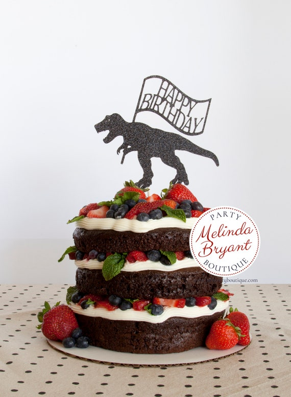 Dinosaur Cake Topper Jurassic World Birthday Party T Rex Toppers Glitter Boys Girls Dino Decor Kids Supplies Decorations