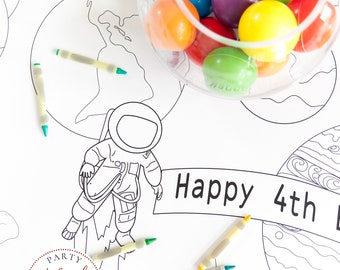 Space Themed Coloring Table Runner Astronaut Explorer Birthday Party Banner Activity Tablecloth for Kids Solar System STEM Adventure