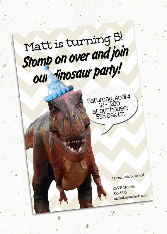 Dinosaur Birthday Invitation / T Rex Jurassic World Printable