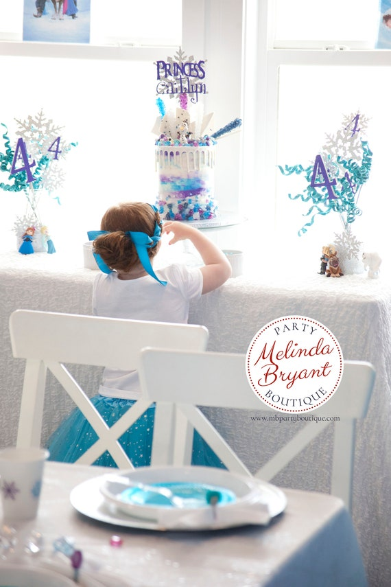 Frozen Birthday Cake Topper Personalized Snowflake Themed Party
