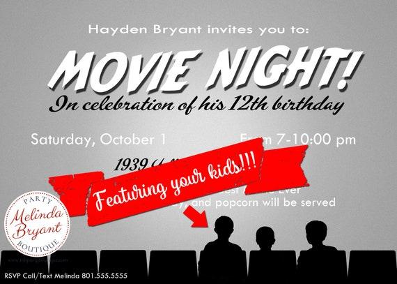 movie night invitation birthday party printables mst3k themed