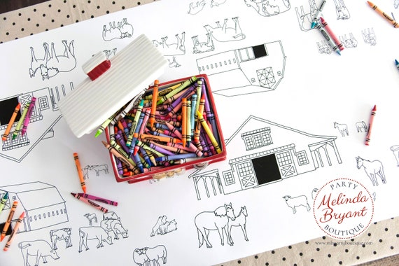 Farm Themed Birthday Party Table Runner Coloring Page / Barnyard ...