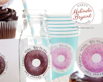 Personalized Donut Themed 2.5 inch Stickers Donut Grow Up Birthday Decor Printed Custom Labels First Birthday Baby Shower Decorations Tween