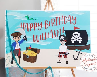 Personalized Pirate Poster 2x3 Feet Exclusive Design for Ocean Themed Birthday Party or Event Customized to Represent All Children