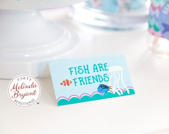 Custom Mermaid Themed Table Tents /Under the Sea Birthday Party Place Cards for Baby Shower Decor or Summer Pool Party Summer Event