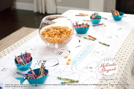 Fantastic Shark Birthday Decor Coloring Page Table Runner Pirate First Interior Design Ideas Apansoteloinfo