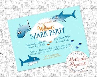 Shark Birthday Invitation Printable Ecard for Baby Shower or Ocean Themed Event Great for Aquarium or Backyard Pool Party Custom Text