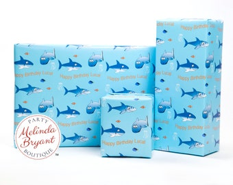 Personalized Shark Themed Gift Wrap with Clown Fish and Text with Childs Name / aquarium birthday party personalized custom wrapping paper
