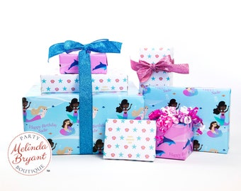 Personalized Mermaid Gift Wrap Set customized to match your child's complexion / aquarium birthday party personalized custom wrapping paper