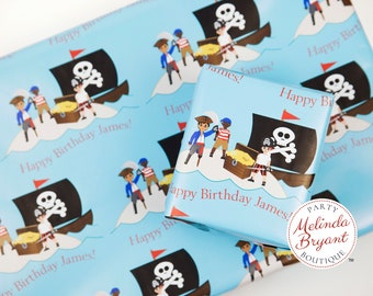 Personalized Pirates and Treasure Gift Wrap with Custom Text and Childs Name / aquarium birthday party pirate ship themed wrapping paper