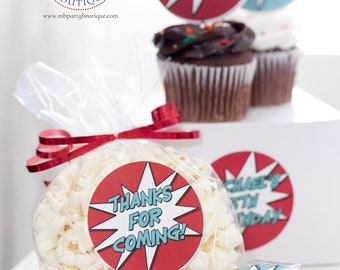 Super Hero Party Stickers 2.5 inch Comic Book Birthday Decor and Favor Kits Cupcake Toppers Treat Bag Labels Baby First Birthday Decorations