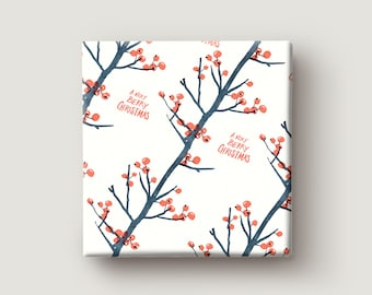 Gift Wrapping Paper / BERRY CHRISTMAS / Red Berries Pattern / Merry Christmas Gift Wrapping Paper / Botanical Gift Wrap / Happy Christmas