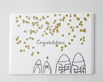 Letterpress Wedding Marriage Congratulations card/ Gold Confetti Letterpress Greeting Card, Congratulation for a wedding