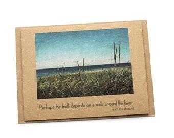 Lake Superior Photo Greeting Card Brown Kraft Quote Blank Inside