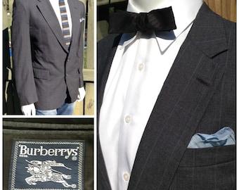 VINTAGE Mens BURBERRYS Pinstripe Blazer -- Grey & Blue Pinstripe Blazer -- Mod Fashion Blazer -- Burberrys Jacket -- Mens Size 42