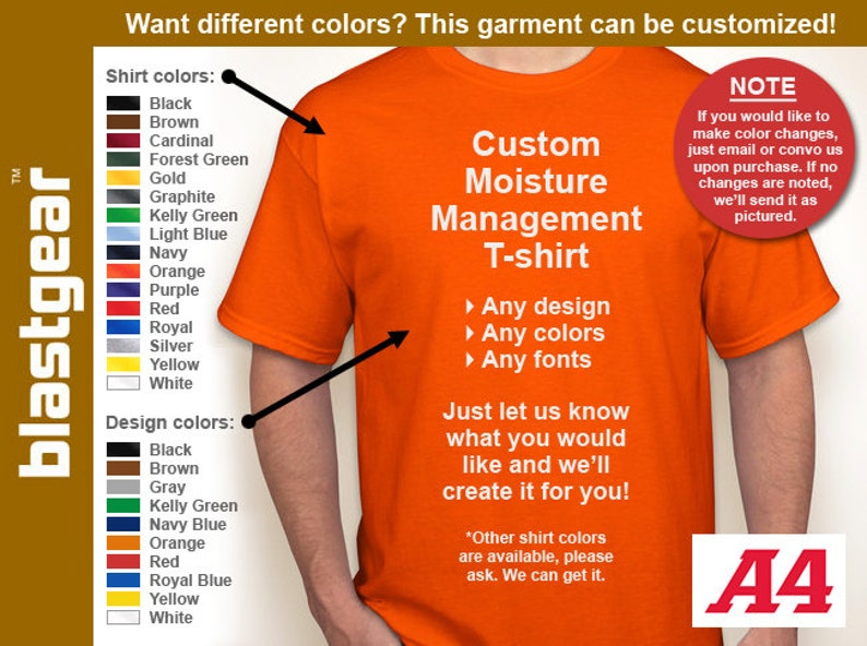 9f152740 Custom Moisture Wicking T-shirt any/your design Any | Etsy