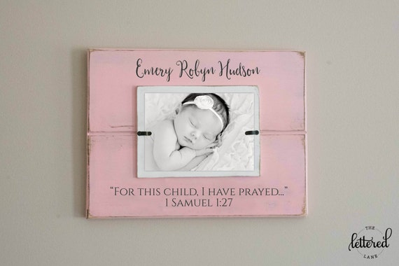 For This Child I Have Prayed Picture Frame Newborn Photo Etsy