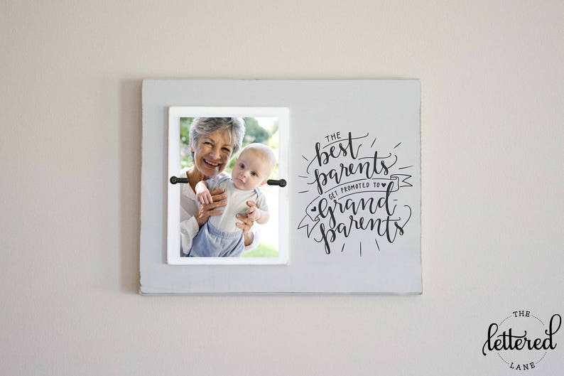 Best Parents Get Promoted to Grandparents Frame Custom Photo Frame Gift Pregnancy Announcement Present Grandma Grandpa Picture Frame