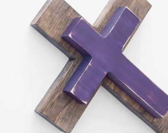 Wood Cross Wall Hanging, Wooden cross, decorative cross decor, Easter decor, Painted Cross, Christian gift, Baptism Gift