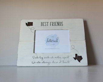 Best Friends Frame, Different States, Miles Apart, Close at Heart, Long Distance Friend Picture Frame, State Frame, Bestie Photo Display