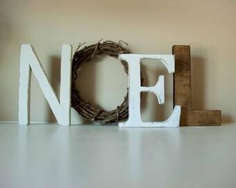 Christmas Decor, Noel Letters, Mantle Decor, Wooden Letters, Christmas Sign