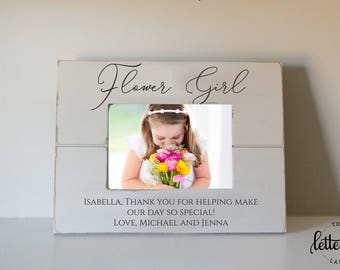 Flower Girl Picture Frame, Picture frame wedding gifts, Junior Bridesmaid, Thank you Picture Frame, flower girl gift, custom, personalized