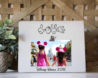 Disney Picture Frame, Love Disney, Vacation Frame, Custom Trip Picture frame, Mickey hands, Custom Disney world Vacation Photo Frame
