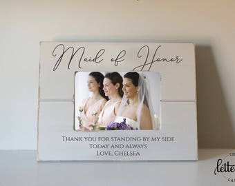 Maid of honor picture frame, matron of honor, best friend wedding frame, bridesmaid picture frame, bridesmaid gift, personalized gift