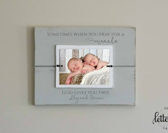 Twins Picture Frame, Twins Gift, Baby Shower Present, God gives you two, miracles, baby frame, nursery decor