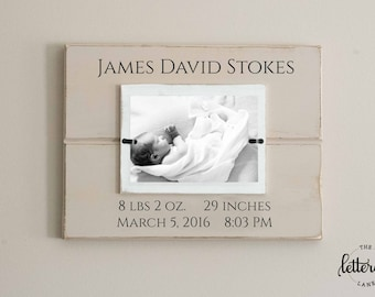 Birth Stats Picture Frame, Baby announcement, Custom Painted Frame, Personalized, Newborn Photo Frame, Hospital stats