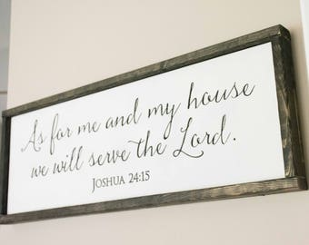 Serve the Lord Wood Sign, As For Me and My Family, we will serve the Lord, Joshua 24:15, Kitchen Sign, Bible Verse Sign, Scripture Sign