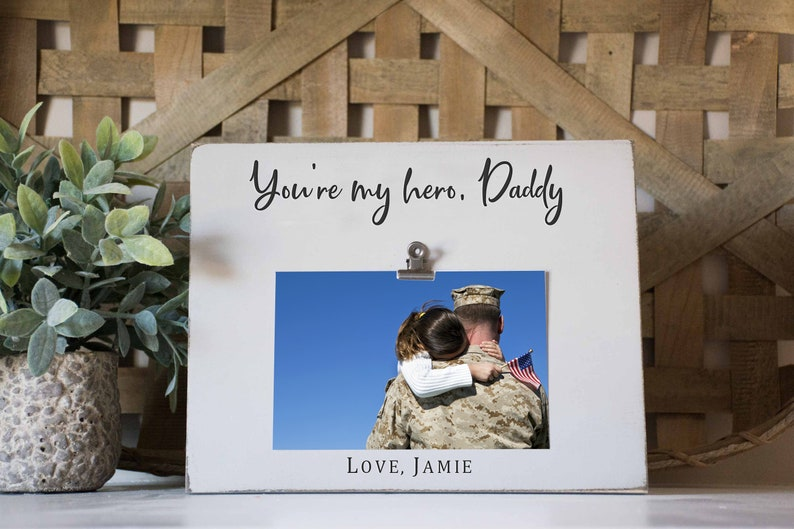 a52c9d75 Daddy Picture Frame military dad father is my hero | Etsy