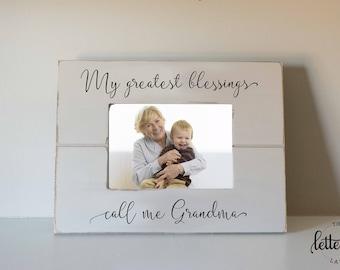Grandma picture frame gift, Greatest Blessings call me, Grandmother Christmas gift, Mothers day gift, custom, nana frame