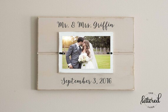 Wedding Picture Frame Personalized Mr And Mrs Picture Frame Etsy